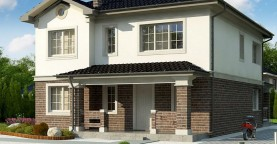 вариант двухэтажного дома Zz2 L BG в классическом стиле с плитами перекрытия