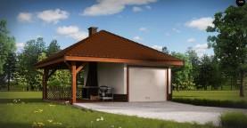Проект гаража для одного автомобиля, для коттеджей традиционного дизайна