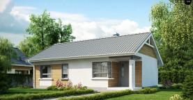 Выгодный компактный одноэтажный дом с угловым окном в кухне.