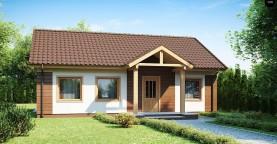 Аккуратный одноэтажный дом простой формы с двускатной крышей.