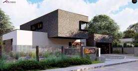 Проект двухуровневого дома с оригинальной планировкой и гаражом на 2 авто.