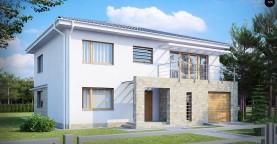 Двухэтажный дом с гаражом для одной машины, с интересным оформлением входной зоны.