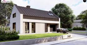 Современный мансардный дом с двухскатной крышей и гаражом на одно авто
