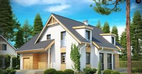 Проект комфортного дома с мансардными окнами, с фронтальным гаражом на одну машину.