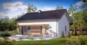 Проект небольшого практичного одноэтажного дома. Есть возможность обустройства чердачного помещения.