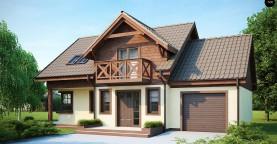 Практичный дом с гаражом, с красивым мансардным окном и боковой террасой.