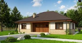 Одноэтажный дом с 4-х скатной кровлей и уютной террасой.