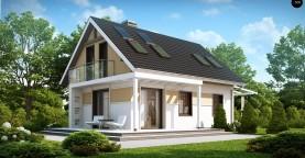 Экономичный в строительстве и реализации дом с удобной планировкой, с навесом для автомобиля.