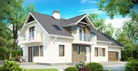 Просторный функциональный дом с гаражом, красивыми мансардными окнами и дополнительной спальней на первом этаже.