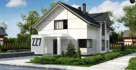 Проект оригинального двухуровневого современного дома без гаража.