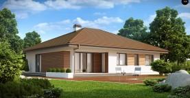 Проект удобного одноэтажного дома с гаражом для двух автомобилей и большим хозяйственным помещением.