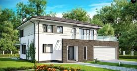 Практичный двухэтажный дом простой формы с низкой крышей, с гаражом для двух автомобилей.