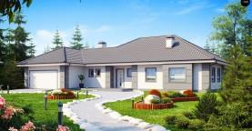 Проект одноэтажного дома с просторной гостиной и гаражом для двух машин.