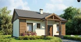 Маленький одноэтажный дом с двускатной кровлей, недорогой в строительстве и эксплуатации.