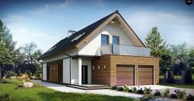 Практичный и уютный дом простой формы для узкого участка с террасой над гаражом.