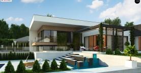 Проект современного двухэтажного дома с большой площадью. остекления.