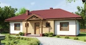Симметричный одноэтажный дом с многоскатной кровлей.