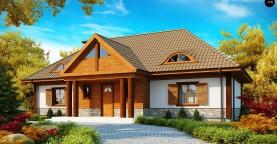 Просторный дом в стиле старинной усадьбы с необычными мансардными окнами и крытой террасой.