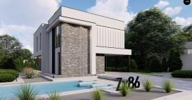 Двухэтажный проект дома для семьи из 4 человек с современным дизайном и навесом для машины