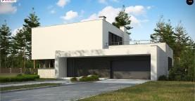 Современный двухэтажный дом с просторной террасой и гаражом на две машины.