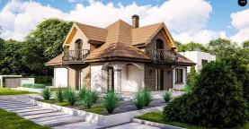 Классический мансардный дом с балконами.