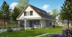 Проект классического мансардного дома с монохромным дизайном экстерьера