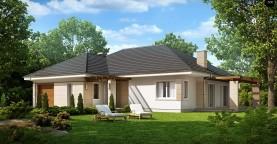 Практичный одноэтажный дом с гаражом для одной машины и возможностью адаптации чердачного помещения.
