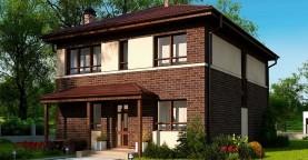 Проект элегантного дома с четырехскатной кровлей.