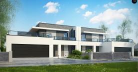 Современный проект домов-близнецов с большим гаражом и террасой на втором этаже.