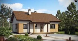 Компактный, уютный одноэтажный дом с двускатной крышей.