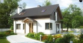 Компактный дом простой формы с угловым окном в кухне и светлой гостиной.