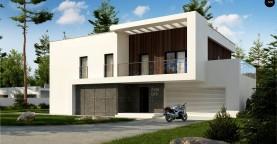 Двухэтажный дом с плоской кровлей и гаражом на две машины