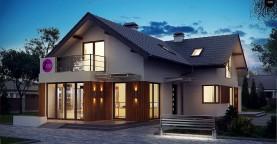 Проект удобного дом с мансардой, с дополнительным помещением для коммерческого использования на первом этаже.