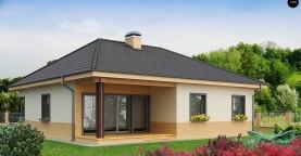 Практичный одноэтажный дом с 4-х скатной кровлей и угловым окном в кухне.