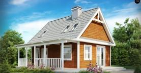 Маленький, уютный дом с мансардой, двускатной крышей и c фронтальной террасой.