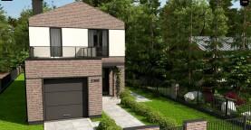 Двухэтажный проект дома с гаражом расположенным фронтально. Подойдет для узкого участка.