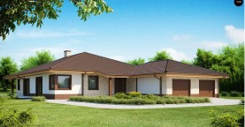 Комфортабельный одноэтажный дом для продольного участка с большим гаражом, с возможностью обустройства мансарды.