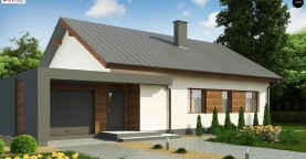 Дом, выполненный в традиционном стиле с одноуровневой планировкой.