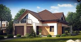 Необычные мансардные окна, фронтальный гараж и современные фасады выделяют этот проект среди остальных.