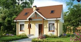 Компактный традиционный дом простой формы с двускатной крышей.