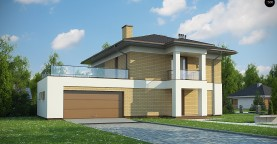 двухэтажный дом с гаражом на две машины в классическом стиле.