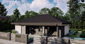 Компактный одноэтажный дом на фасаде с камнем и плитами.