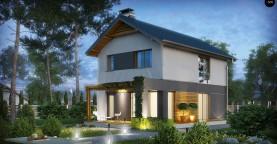 Небольшой двухэтажный дом с современными архитектурными элементами, подходящий для узкого участка.