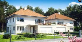 Проект просторного двухэтажного дома для симметричной застройки с террасой над гаражом.