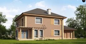 Проект комфортного двухэтажного дома с гаражом. Фасады в кирпичной облицовке.