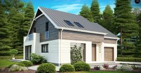 Проект удобного функционального дома простой формы с двускатной крышей.