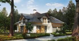 Проект комфортного дома с фасадными окнами, с гаражом для двух автомобилей.