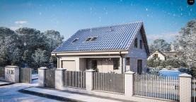 Дом с мансардой, двускатной крышей, гаражом и крытой террасой.