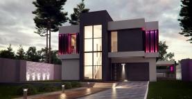 Проект дома в современном стиле с большими площадями остекления