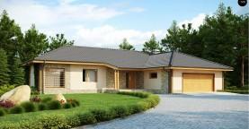Проект одноэтажного дома с выступающим фронтальным гаражом.